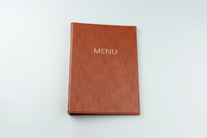 Buku Menu Binder A4 Cokelat tampak depan